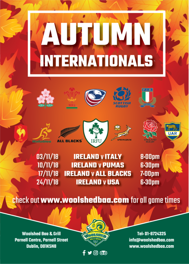 ff9fe257665 Saturday 3rd November 2018 Japan v New Zealand Wales v Scotland 2:45pm England  v South Africa 3:00pm Ireland v Italy 8:00pm Saturday 10th November 2018 ...