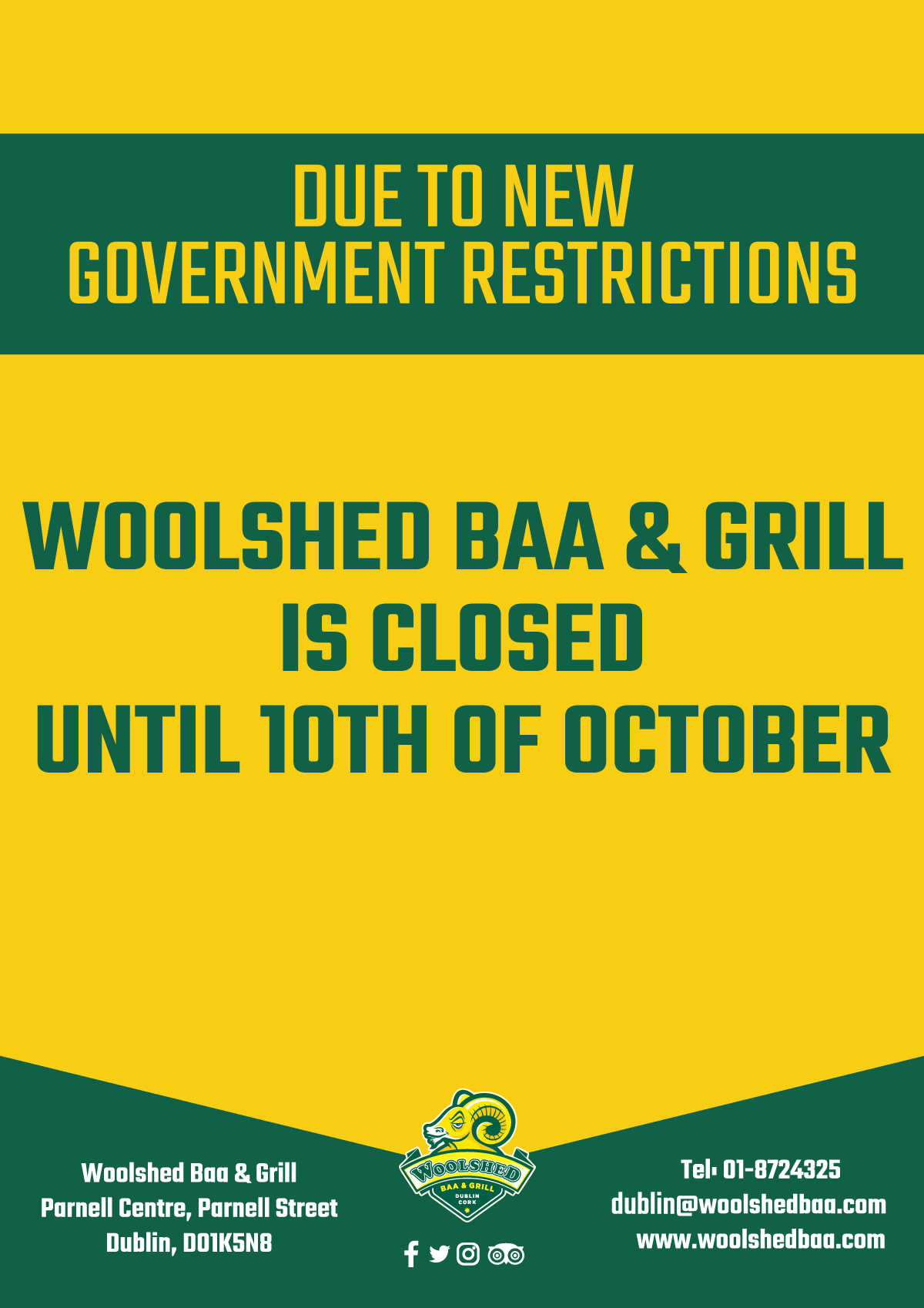 Closed until 10th of October